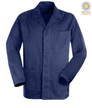 blue work jacket in sanforized massaua cotton and covered buttons