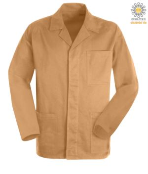 khaki color work jacket in sanforized massaua cotton and covered buttons