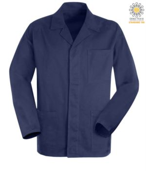 blue moleskin work jacket with covered buttons
