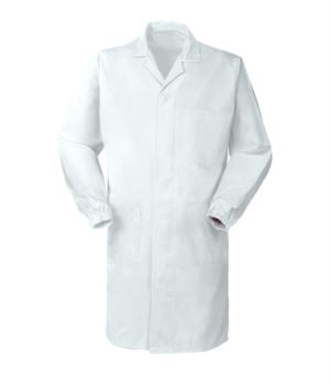 Coat, central button closure, open collar, three pockets, elastic at the wrists, color white