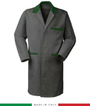 two-tone grey/green men work gown with covered buttons