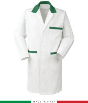 men gowns for professional use 100% cotton color White/Green
