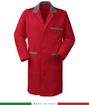 red/grey cotton men work gown