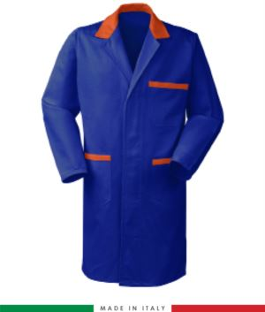 men work gown Royal Blue/ Orange 100% cotton