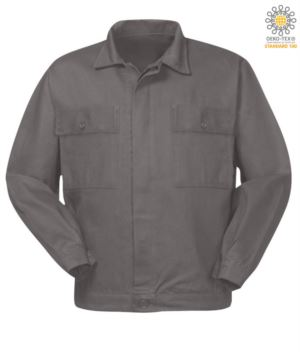 Cotton work jacket with two chest pockets. Colour grey