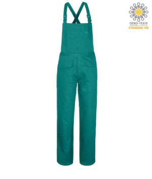 Dungarees, flap closure with covered buttons, multipockets, Color green.