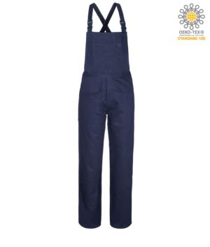 Work overalls, with inner sweatshirt, two leg pockets and one in the middle, adjustable shoulder straps