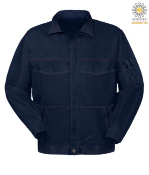 Multi pocket work jacket with shirt collar. Color Navy blue