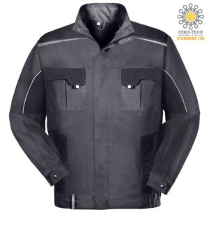 Two-tone multi pocket work jacket with reflective piping on shoulders and sleeves. Colour grey/black