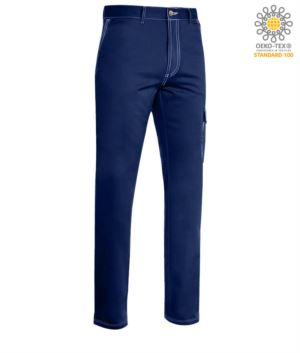 Multi pocket work trousers with contrast stitching. Colour blue
