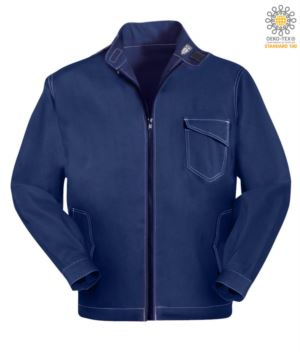Work jacket with zipper closure. Corea collar with velcro closure, contrasting stitching. Colour Blue