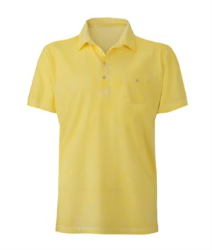 Short-sleeved polo shirt with pocket, fitted cut, yellow colour