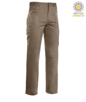 Multi pocket work trousers, contrast stitching 100% Cotton, color beige