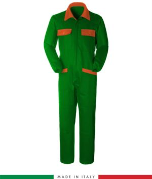 Two-tone ful jumpsuit , shirt collar, central covered zip, elasticated wais. Possibility of personalized production. Made in Italy. Color bright green/orange