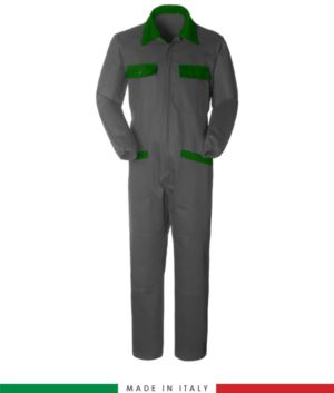 Two-tone ful jumpsuit , shirt collar, central covered zip, elasticated wais. Possibility of personalized production. Made in Italy. Color grey/bright green