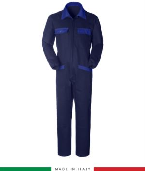 Two-tone ful jumpsuit , shirt collar, central covered zip, elasticated wais. Possibility of personalized production. Made in Italy. Color navy blue/royal blue