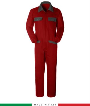 Two-tone ful jumpsuit , shirt collar, central covered zip, elasticated wais. Possibility of personalized production. Made in Italy. Color red/grey