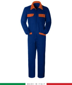 Two-tone ful jumpsuit , shirt collar, central covered zip, elasticated wais. Possibility of personalized production. Made in Italy. Color royal blue /orange