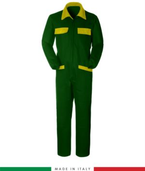 Two-tone ful jumpsuit , shirt collar, central covered zip, elasticated wais. Possibility of personalized production. Made in Italy. Color bottle green/yellow