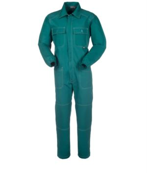Ovearalls with covered zip and pockets, contrasting stitching, elasticated cuffs, 100% Cotton. Colour: green