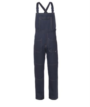 Multi pocket dungarees with central pocket. Colour navy blue