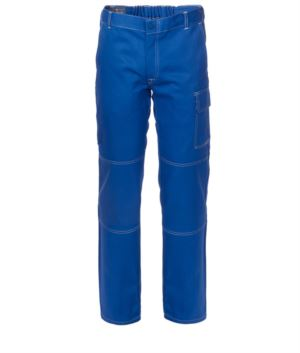 Multi pocket trousers 100% Cotton, contrasting stitching. Color:light Blue