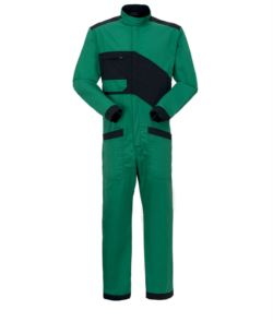 Two-tone overalls, zip fastening and Korean collar, chest pocket and leg pockets, color green and black