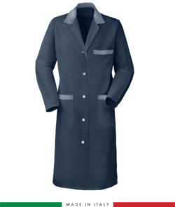 blue long sleeved work gown