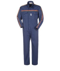 Overalls, Korean collar, elasticated wrists and color stripe on sleeves and chest. Colour Navy blue