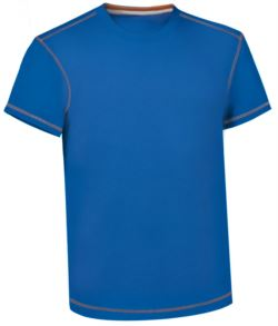 Round neck work shirt with contrasting stitching, colour royal blue
