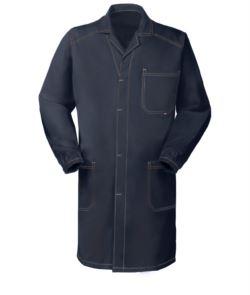 camice da lavoro blu in cotone irrestringibile con bottoni coperti