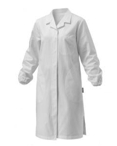 Camice donna, manica lunga, chiusura bottoni, taschino applicato, due tasche laterali, polsini con elastico, colore bianco, certificato CE