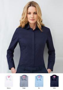 Camicia da donna in poliestere e cotone, disponibile nei colori bianco, celeste, navy, grigio. Per receptionist, hostess, hotellerie.