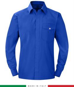 Camicia ignifuga, antistatica, antiacido a manica lunga, taschino sul petto, Made in Italy, certificata EN 1149-5, EN 13034, EN 14116:2008, colore azzurro royal