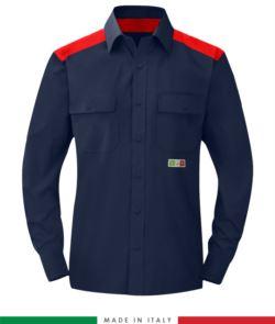 Camicia trivalente bicolore, chiusura con bottoni a pressione, due tasche sul petto, inserti colorati su spalle e interno collo, certificata EN 1149-5, EN 13034, UNI EN ISO 14116:2008, colore blu navy/rosso