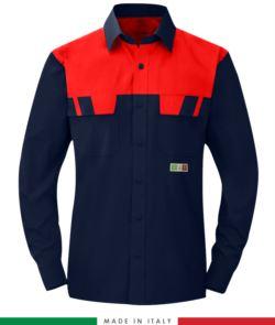 Camicia trivalente bicolore, maniche lunghe, due tasche sul petto, Made in Italy, certificata EN 1149-5, EN 13034, EN 14116:2008, colore blu navy/rosso