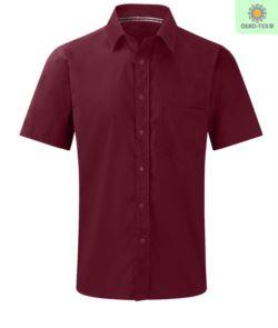 Camicia da uomo a manica corta per divisa da lavoro bordeaux
