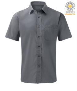 Camicia da lavoro a manca corta colore silver in poliestere e cotone