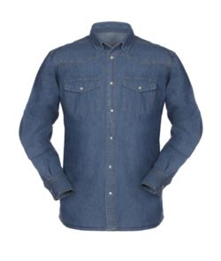Demin shirt with pearl buttons