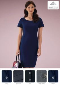 Elegant dress in polyester and wool, fabric with stain-resistant treatment.