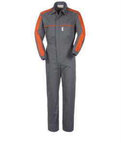Multi-pocket workwear with contrasting details on shoulders and chest, elasticated cuffs, shirt collar, colour grey and orange colour