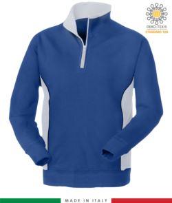felpa promozionale da lavoro a zip corta colore azzurro con fascia bianca
