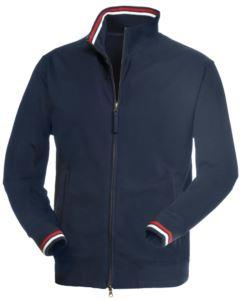 Felpa zip lunga colore blu in cotone ed elastan