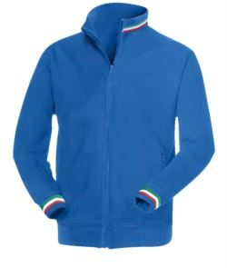 Royal Blue long zip work sweatshirt with tricolour inserts