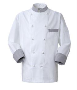 Giacca cuoco, chiusura anteriore bottoni doppio petto, taschino lato sinistro, manica a 3/4, colore bianco-galles