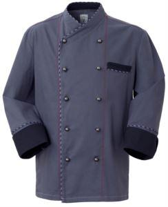 Giacca da cuoco, chiusura anteriore bottoni doppio petto, taschino lato sinistro, manica a tre quarti, colore grigio