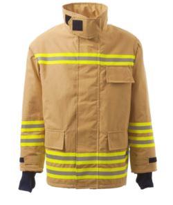 Giaccone antincendio, zip frontale, polsini in maglia, colletto adattabile al casco, colore oro. Certificato EN 469