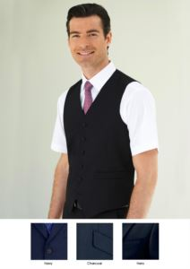 Gilet da divisa elegante in poliestere e viscosa disponibile nei colori Navy, Charcoal, Nero. Ideale per uniformi di portierato, hotel, receptionist.