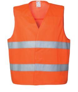 Gilet alta visibilità con doppia banda rifrangente al girovita, chiusura con veltre, certificato EN 20471. Colore arancione