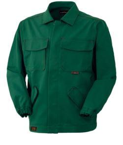 Giubbetto ignifugo, chiusura con bottoni coperti, collo chiuso, due tasche e due taschini, colore verde. Certificato CE, EN 11611, EN 11612:2009